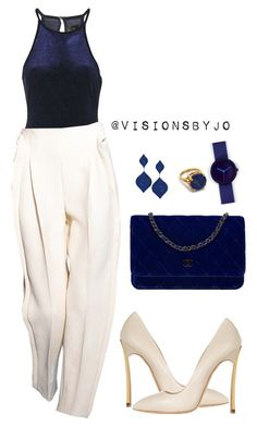 """Untitled #1167"" by visionsbyjo on Polyvore featuring Topshop, Chanel, Casadei, Heather Hawkins and Nava"