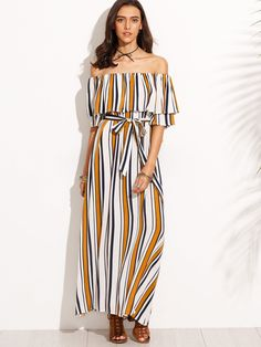 Fabric  Fabric has no stretch Type  Tunic Pattern Type  Striped Sleeve  Length  Short Sleeve Color  Multicolor Dresses Length  Maxi Style  Beach  Material  ... 8900476c2d0