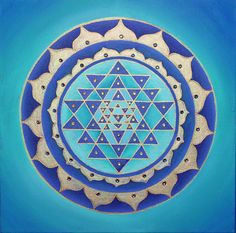Blue Sri Yantra Mandala-  Original Acrylic on canvas via Etsy