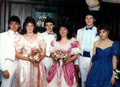 Puffed sleeved 80's prom dresses
