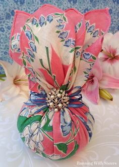 Make a sachet from a vintage hankie and a rhinestone brooch. Easy gift craft!