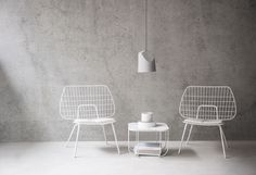 MENU String Lounge Chair, Cage Table White Marble, On The Edge Lamp