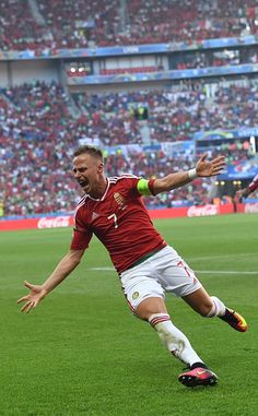 #EURO2016 Hungary's midfielder Balazs Dzsudzsak celebrates after scoring a goal during the Euro 2016 group F football match between Hungary and Portugal at the...