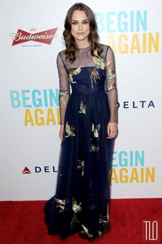 "Keira Knightley attends premiere of ""Begin Again"" at the SVA Theatre in New York City in a Valentino navy sheer gown with bird appliqués."