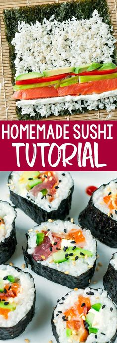 Homemade Sushi: Tips, Tricks, and Toppings! - Peas and Crayons - Seafood Recipes Appetizers For A Crowd, Appetizers For Party, Appetizer Recipes, Seafood Appetizers, Dinner Recipes, Seafood Recipes, Sauce Recipes, Cooking Recipes, Pastry Recipes