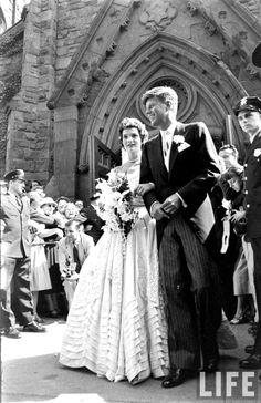Her Wedding ..12-9-1953 ...http://en.wikipedia.org/wiki/Wedding_dress_of_Jacqueline_Bouvier  ♛ ❤❤♛