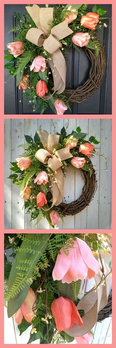 This Tulip Wreath is made on a grapevine base and features peach tulips that are surrounded by a mix of greenery that includes ferns and ficus leaves. A wired bow in natural linen adds the finishing touch! #Tulip Wreath #Tulip Door Wreath #Spring Tulip Wreaths #Front Door Wreath #Grapevine Tulip Wreath #Tulip Wreaths #Spring Wreaths #affiliate