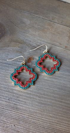 EARRINGS | Boho Clover Dangles - Turquoise/Coral