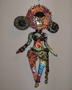 Mardi Gras beaded doll