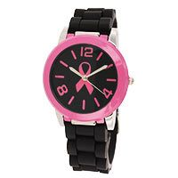 Pink Ribbon Black & Pink Silicone Watch at The Breast Cancer Site. Protected for everyday life, bathing, accidental splashes, short swimming or car washing, and is resistant against perspiration, water vapor, and rain drops.