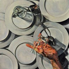 Paul X. Rutz Broken Drinking Glass oil on canvas 18″ x 18″