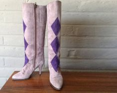 Vintage 80s Knee High Boots 1980s Couture Purple Lavender Suede Leather Mod Diamond Harlequin Design Leather Lining & Sole Made in Spain 6