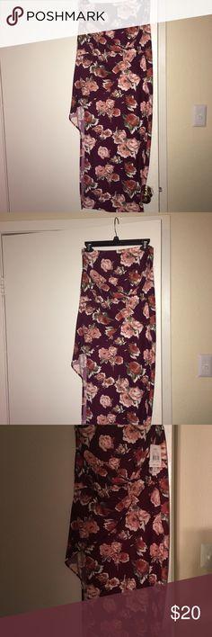 Long high lo maxi skirt Floral maroon skirt with peach floral print Joe B Skirts Asymmetrical