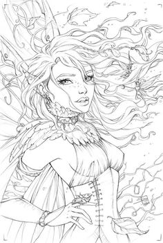 Here is the pencils to for the cover to the comic book that I'm drawing called Theory of Magic. Theory of Magic Cover Fairy Coloring Pages, Adult Coloring Book Pages, Colouring Pics, Free Coloring Pages, Printable Coloring Pages, Coloring Books, Colorful Drawings, Colorful Pictures, Desenho Tattoo