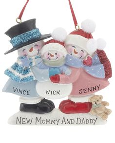 New Mommy And Daddy Snowman Family