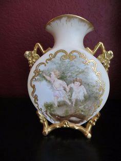 "Antique French 1880s. Martial Redon Limoges Cherub/Kids Hand Painted Vase 8.9"" #MartialRedonLimoges"