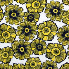 Stamp Floral Yellow Cotton Jersey Knit Fabric