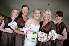 Happiness is.. gorgeous flowers! Pink & white Roses, Orchids & touch of greenery spell big smiles for our bridal party. www.stradbrokeweddings.com.au