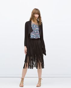 Image 1 of LONG FLOWING JACKET WITH CORD from Zara