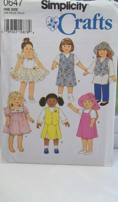Doll Clothes Sewing Pattern Simplicity 0647 18 by WitsEndDesign