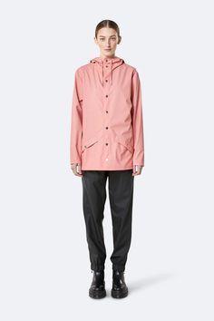 Unisex Rains Classic Jacket - Coral on Garmentory Cool Silhouettes, Rubber Raincoats, Waterproof Rain Jacket, Unisex, Rain Wear, British Style, Fitness Models, Windbreaker, Jackets