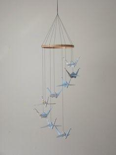 Children Decor Origami Crane Mobile - Baby Mobile - Eco Friendly - Art World Map Atlas Teacher Home Unique Repurposed Blue. $28.00, via Etsy.