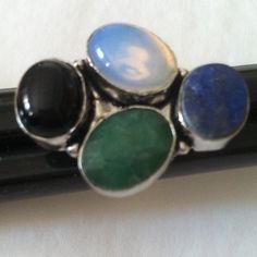 925 multi stone ring Gorgeous moonstone onyx lapis emend unique ring 925 Jewelry Rings