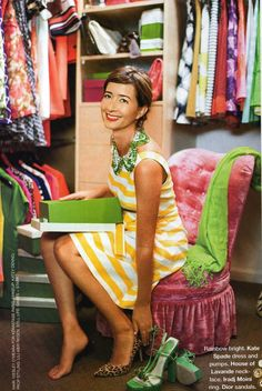 Kate Spade creative director Deborah Lloyd in her closet, as featured in Harper's Bazaar, February 2009 #closet #dressing_room #stripes #tufted