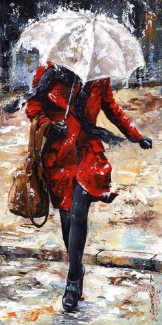 Rainy day - Woman of New York 10 Painting by Emerico Toth