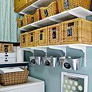 Hometalk :: $124 Laundry Room Overhaul- Pass Through to Garage (Custom DIY Shelves…