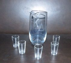 Kappa Delta sorority glass pitcher and shot glasses by GiftedEnrichment on Etsy