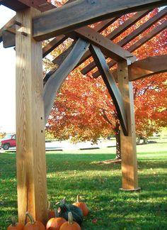 Walnut braces, red oak posts.