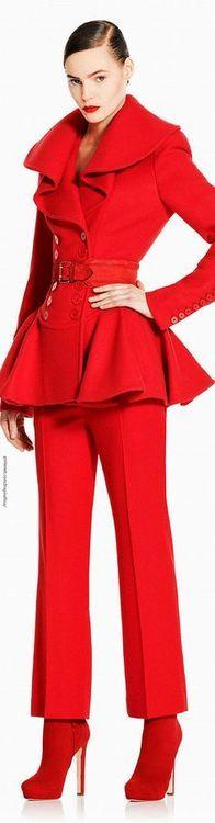 Alexander McQueen red peplum wool suit