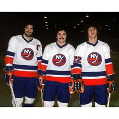 Clark Gillies, Bryan Trottier, Mike Bossy New York Islanders One of the great scoring lines in hockey history!