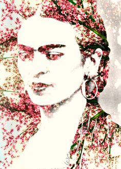 Frida Kahlo Art Cherry Blossom Tree Surreal at www.artdecadence.etsy.com