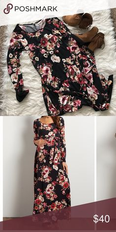 Black Floral Sash Tie Maternity Maxi Dress Brand new long sleeve floral maternity maxi dress. Perfect for your baby shower and super comfortable!! Pinkblush Dresses Maxi