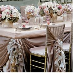 Weddbook ♥ Frilly pale pink wedding table design for dream wedding. Wedding decoration with pink roses and ruffled wedding chair covers and sashes. table pink ruffled flower garden fairy pale decor chair