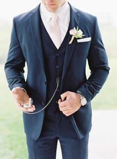 Wedding Tuxedos Two-Button Groom Suit Set Groomsman Suit Blue Wedding Party Suit (Jacket+Pants+Vest) Custom Made For Evening party Blue Groomsmen Suits, Groom And Groomsmen Attire, Groom Outfit, Blue Suits, Blue Suit Groom, Groom Suit Vintage, Navy Blue Tuxedos, Groom And Groomsmen Suits, Beach Wedding Suits