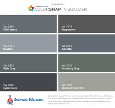 I found these colors with ColorSnap® Visualizer for iPhone by Sherwin-Williams: Wall Street (SW 7665), Dustblu (SW 9161), Web Gray (SW 7075), Cyberspace (SW 7076), Peppercorn (SW 7674), Gibraltar (SW 6257), Homburg Gray (SW 7622), Stamped Concrete (SW 7655).