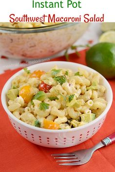 Instant Pot Southwest Macaroni Salad - An easy summer side dish with spicy Southwestern flavors. Make pasta in the Instant Pot and add remaining ingredients. Perfect for a BBQ cookout, holiday dinners, picnics and potlucks! from Meatloaf and Melodrama Best Pasta Dishes, Dinner Recipes Easy Quick, Salad Recipes For Dinner, Easy Pasta Recipes, Delicious Recipes, Crockpot Recipes, Cookout Side Dishes, Cookout Food, Side Dishes Easy