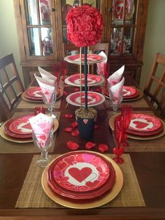 Decoration Marvelous Red Paper Flower Round Pink Heart Pattern Plate Red Wine Glass Red Rose Petals Wooden Laminate Floor Simple Dining Room Valentines Day Decoration Ideas Flower Topiary Valentine's Day Table Decorating Ideas