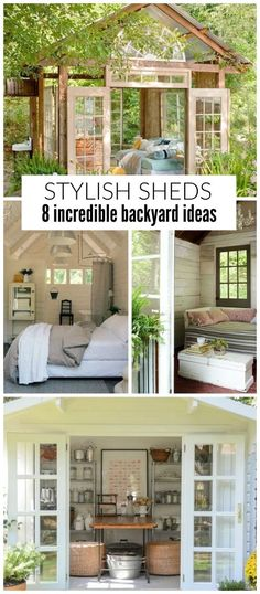 Add in a beautiful shed to your backyard not only for additional storage but to hang out and relax in! These sheds include benches, chairs and cute areas for relaxing so you can have your own outdoor oasis.