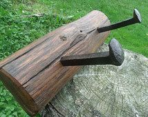 Rail Road Spike Coat Rack , Naturally Aged Wood, Distressed, Reclaimed, Rustic, Wood, Hand Made