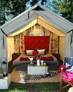 Glamping.  Now, this is true glamping! I found some of these for the California road trip! So excited!