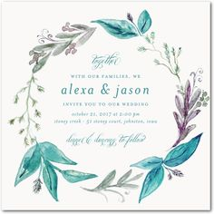 Stunning Wreath - Signature White Textured Wedding Invitations in Eucalyptus or Deep Turquoise | Jenny Romanski