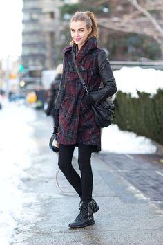 Street Style - Street Style Photos New York Fashion Week Fall 2014 - Harper's BAZAAR kabat