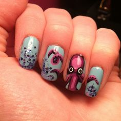 Instagram @Kells_Hotz #nails #ocean #inspire #octopus #glitter #blue #purple #seacreature #fashion #makeup