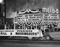 """Award winning Alabama author's prize winning novel, """"To Kill a Mockingbird"""" opened at the Melba Theater in Birmingham, 1963.  (Loved all the downtown theaters we frequented in the 1960s...Alabama, Melba, Empire, Ritz...slj)"""