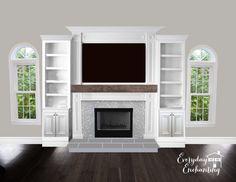 Entertainment center highlighting fireplace.