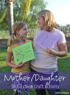 Mother/Daughter Self-esteem Craft Activity Idea Self Esteem Building Activities, Family Therapy Activities, Girl Scout Activities, Activities For Teens, Craft Activities, Mother Daughter Crafts, Mother Daughter Activities, Mom Daughter, Daughters